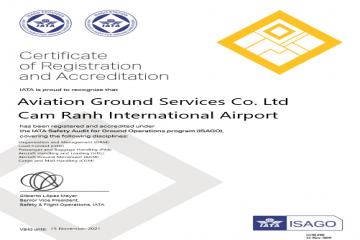 AGS CXR VINH HẠNH ĐƯỢC CẤP CHỨNG CHỈ AN TOÀN KHAI THÁC ISAGO CỦA IATA
