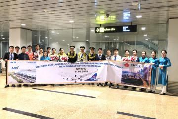 Chào mừng chuyến bay đầu tiên của Qingdao Airlines đến với sân bay quốc tế Cam Ranh - Nha Trang