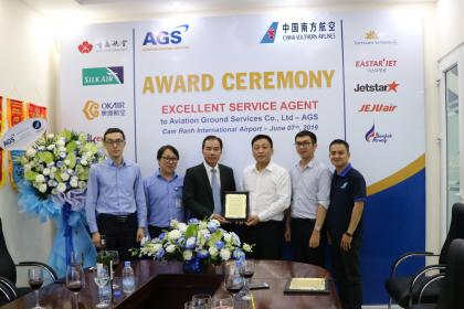 "AGS to be honored with 2 prestigious awards ""Exellent Service Agent"" and ""Safety Handle Award"" from China Southern Airlines (CZ)"