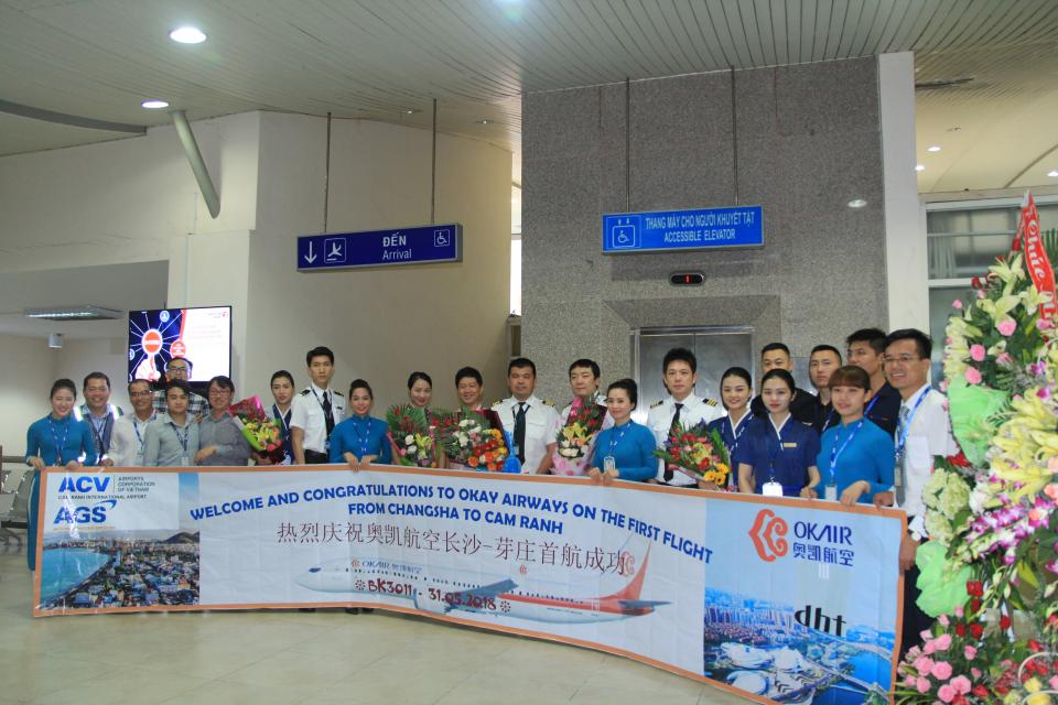 CONGRATULATIONS TO OKAY AIRWAYS ON THE FIRST FLIGHT TO CAM RANH INTERNATIONAL AIRPORT